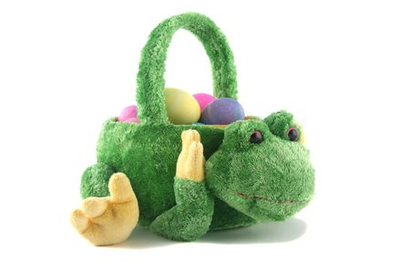 frog egg: Easter egg basket in the shape of a frog with eggs in it