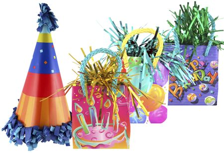 Isolated party bags and cute birthday party hat Stockfoto