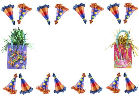 Party hats and birthday packages making a border Stock Photo - 887960