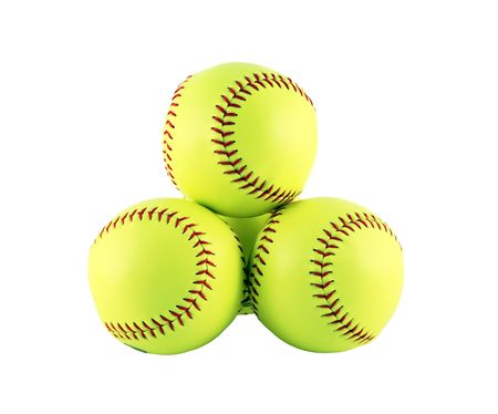 Four softballs isolated on a white background Stok Fotoğraf