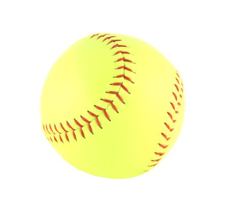 Brand new yellow softball isolated on white