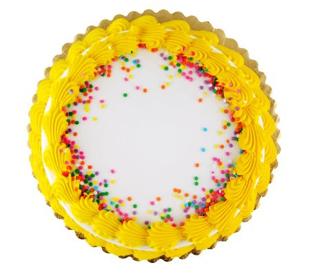 Yellow icing on a white party cake with confetti candy Stock Photo - 938314