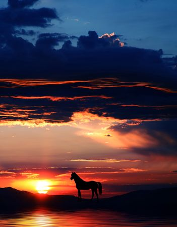 Beautiful mountains with horse silhouette and spectacular sunrise or sunset at Lake Tahoe in California and Nevada