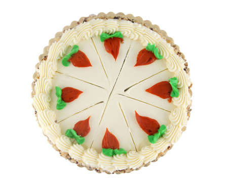 Decorated and portioned whole carrot cake with icing photo