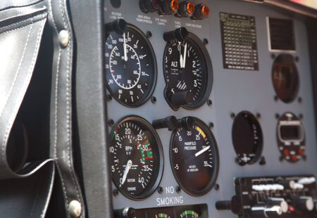 Closeup of part of the instrument panel in a helicopter cockpit photo