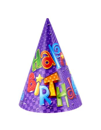 Party hat that says happy birthday on it Stok Fotoğraf - 1164615