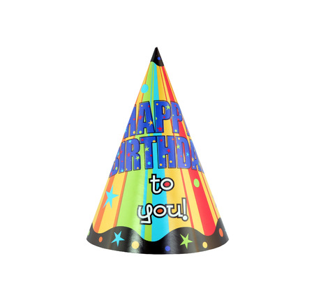 bash: Colorful party hat with decorative Happy Birthday Stock Photo