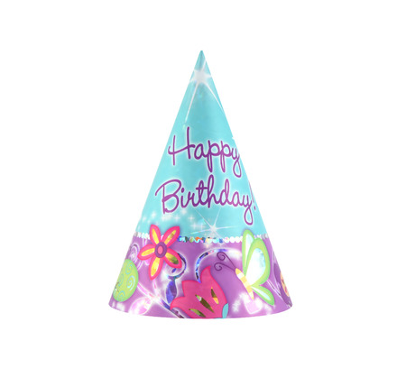 Colorful party hat with Happy Birthday on it