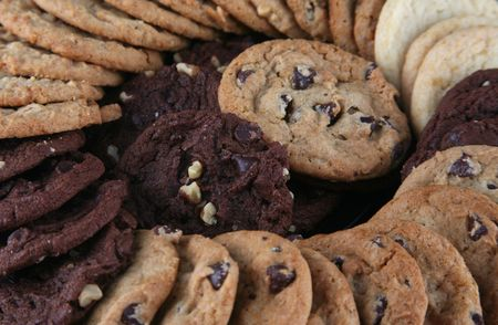 Variety of cookies displayed on a platter