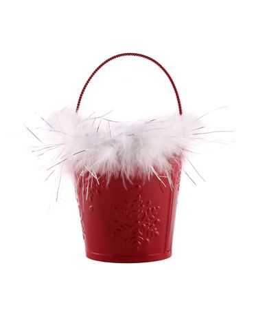 Christmas holiday pail isolated on white background photo