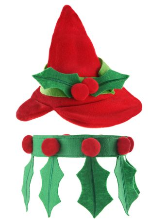 Cute elf hat and collar isolated on white background photo
