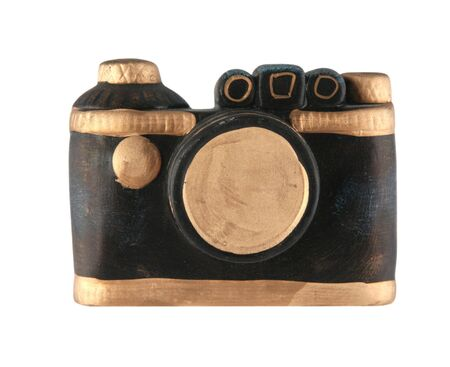 Gold and black camera isolated on white background 版權商用圖片