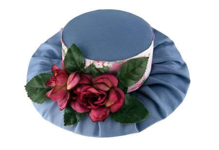 Fancy hat with roses isolated on white background