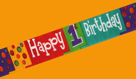 stating: Banner stating happy first birthday isolated on a color background