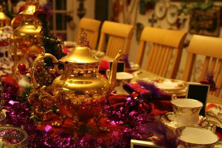 Beautiful table decorated for a tea party for Christmas Stock Photo