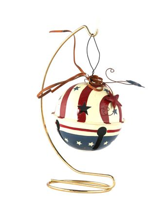 Holiday patriotic bell or ornament isolated on white background photo