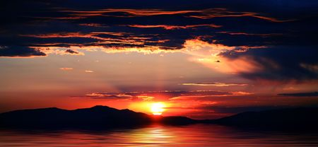 red morning: Beautiful mountains with spectacular sunrise or sunset at Lake Tahoe in California and Nevada