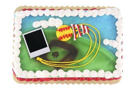 Softball or baseball theme cake with old film blank photo