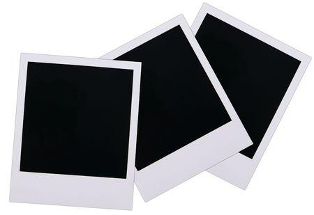 Old polaroid film blanks isolated on white background Stok Fotoğraf