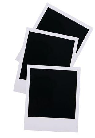 Three old polaroid film blanks isolated on white background Stok Fotoğraf