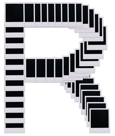 Old photo film blanks in the shape of the letter R