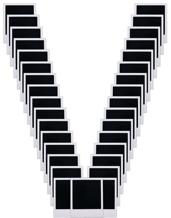 Old photo film blanks in the shape of the letter V