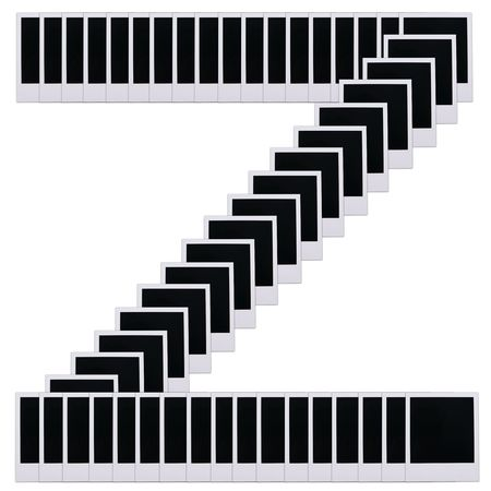 Old photo film blanks in the shape of the letter z