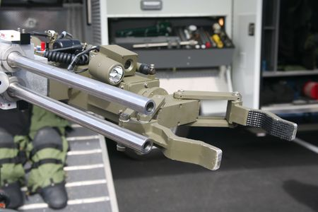 Military or police robot used to safely move or detonate bombs and mines