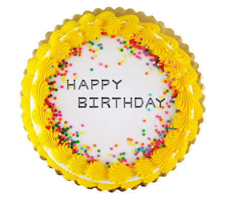 Yellow icing on a white happy birthday party cake