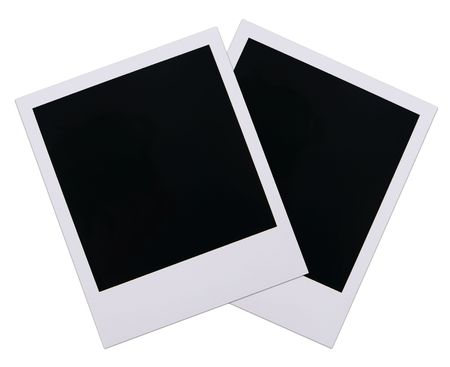 blanks: Two old polaroid film blanks isolated on white background