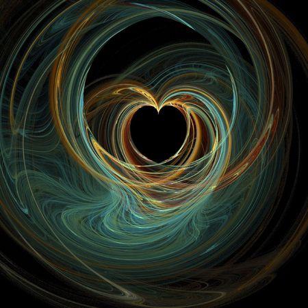 Unieke en kleurrijke abstracte hart computer gegenereerde achtergrond