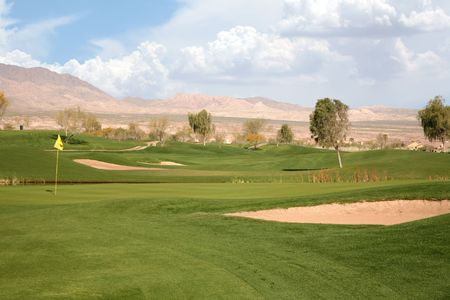 Golf course in the middle of the desert landscape Stock Photo - 2847586