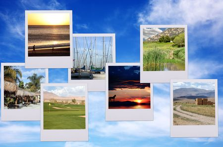 Vacation Polaroid pictures on beautiful blue heavenly and soft cloudy sky  Stock Photo