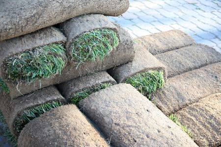 Rolls of sod to make a perfect lawn or golf course Stok Fotoğraf - 2929535