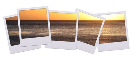 Panorama of pictures with sunset isolated on white background