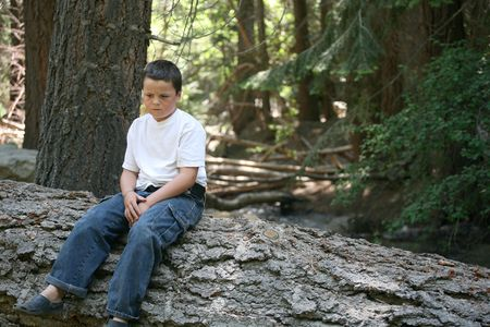 appears: Young boy that appears sad to be sitting on this log in the forest Stock Photo