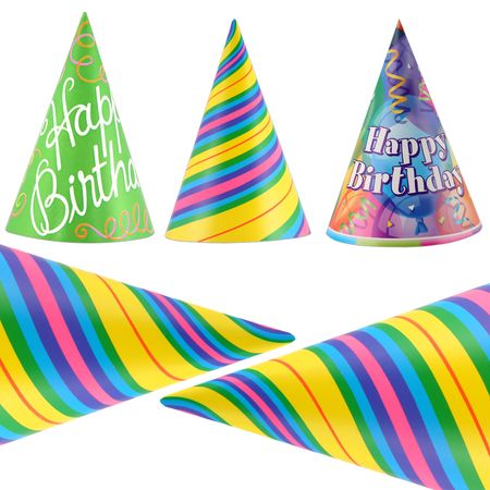 bash: Colorful party hats isolated on white background
