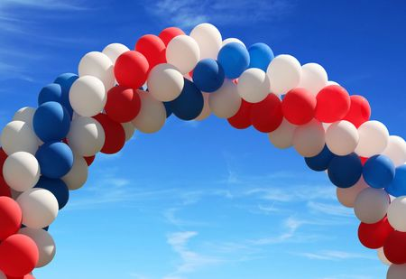 Red white and blue pattic balloons on pretty blue sky Stock Photo - 3352894