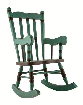 rocking chair: Green antique rocking chair isolated on white background Stock Photo