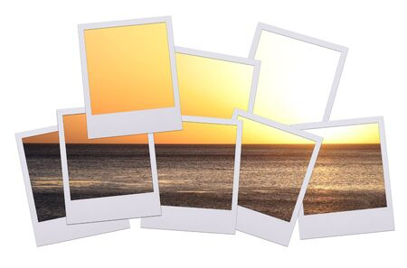 Panorama of pictures with sunset isolated on white background photo
