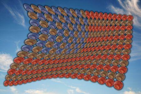 American baseball flag on cloudy sky background photo