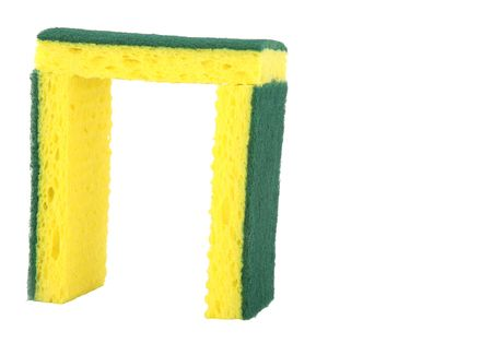 scrubber: Yellow sponge with green scrubber attached isolated on white background