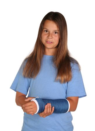 broken arm: Young girl wearing a blue cast isolated on white background Stock Photo