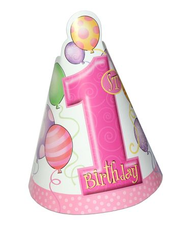 1st birthday party hat for a girl isolated on white background