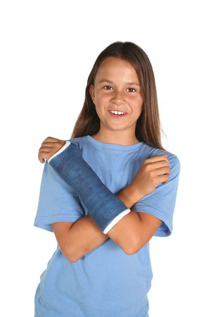 Young girl with a broken wrist or arm isolated on white background Stock Photo
