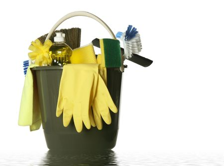 custodian: Wet plastic bucket with cleaning supplies isolated on white background