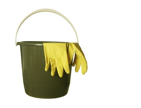 Cleaning bucket with yellow gloves isolated over white background photo