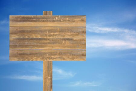 Beautiful blue heavenly and soft cloudy sky with blank wooden sign