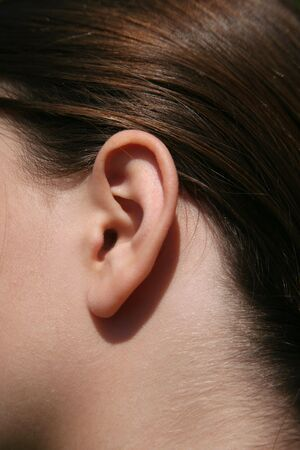Closeup of the ear of a female brunette child Stok Fotoğraf