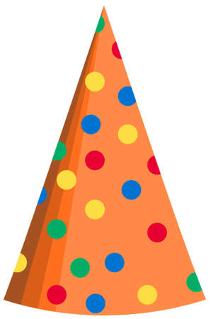 Colorful polka dot party hat isolated on white background Stok Fotoğraf